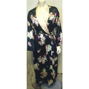 Jones NY Belted Black Floral Silky Robe S/M EC